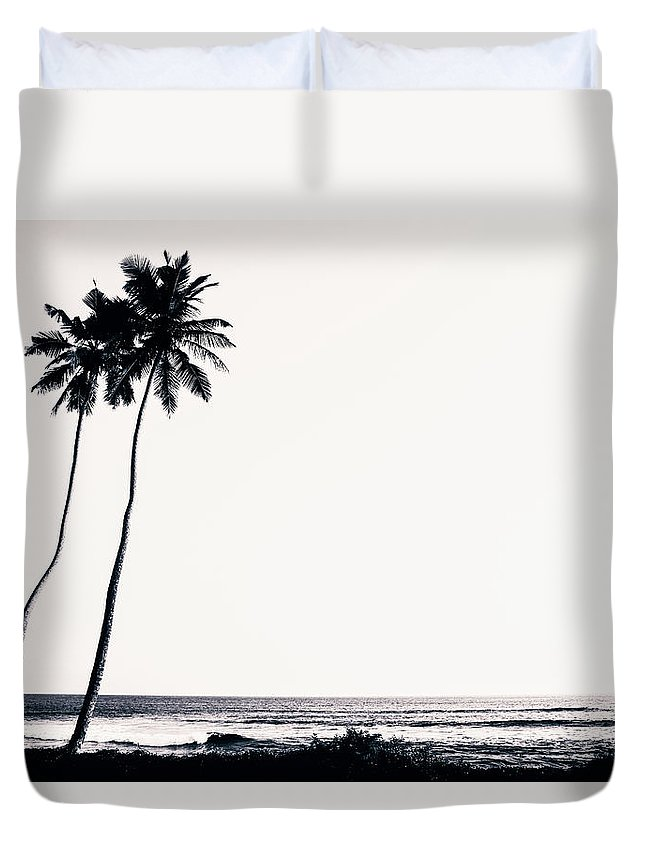 Empty Duvet Cover featuring the photograph Palm Trees And Beach Silhouette by Chrispecoraro