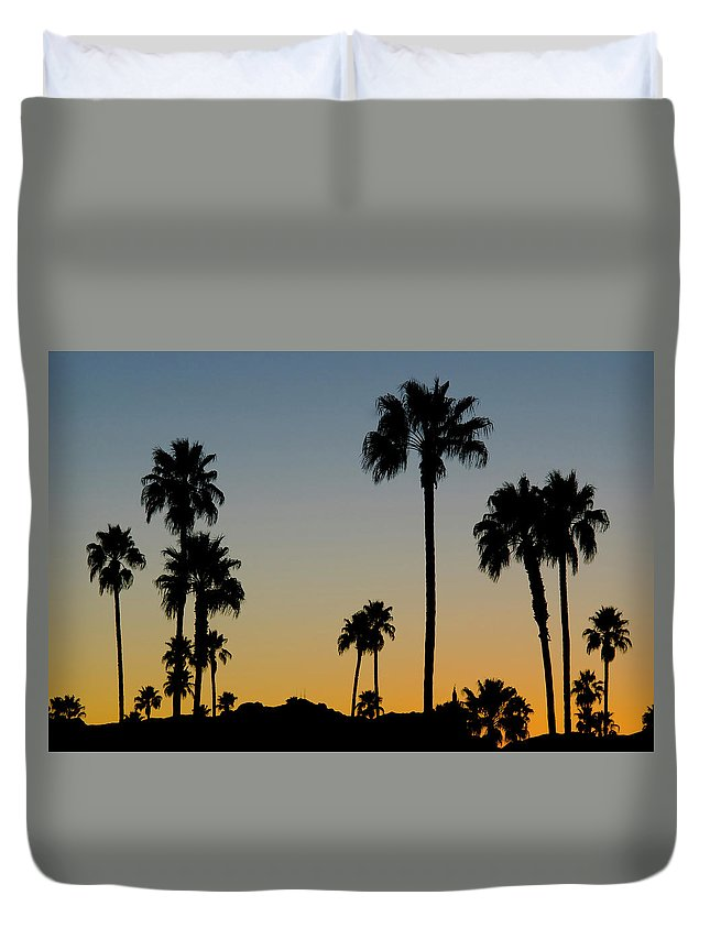 Scenics Duvet Cover featuring the photograph Palm Trees At Sunset by Chapin31