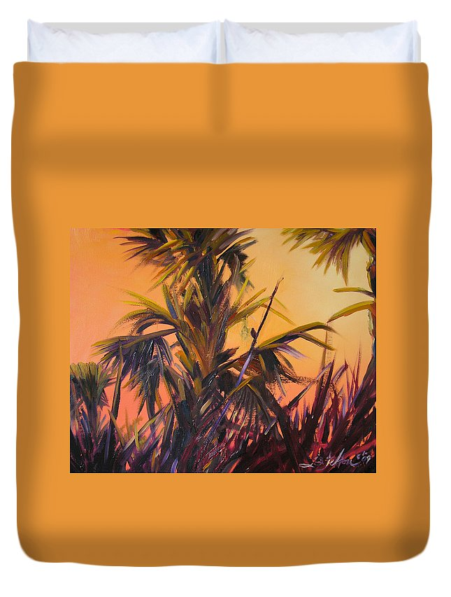 Impressionism Duvet Cover featuring the painting Palmettos At Dusk by Julianne Felton