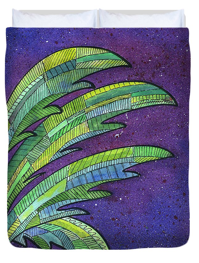 Palm Duvet Cover featuring the painting Palms Against The Night Sky by Diane Thornton
