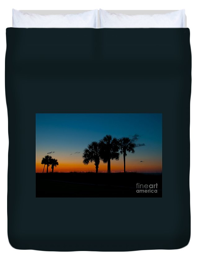 Palm Duvet Cover featuring the photograph Palms At Clear Dawn by Photos By Cassandra
