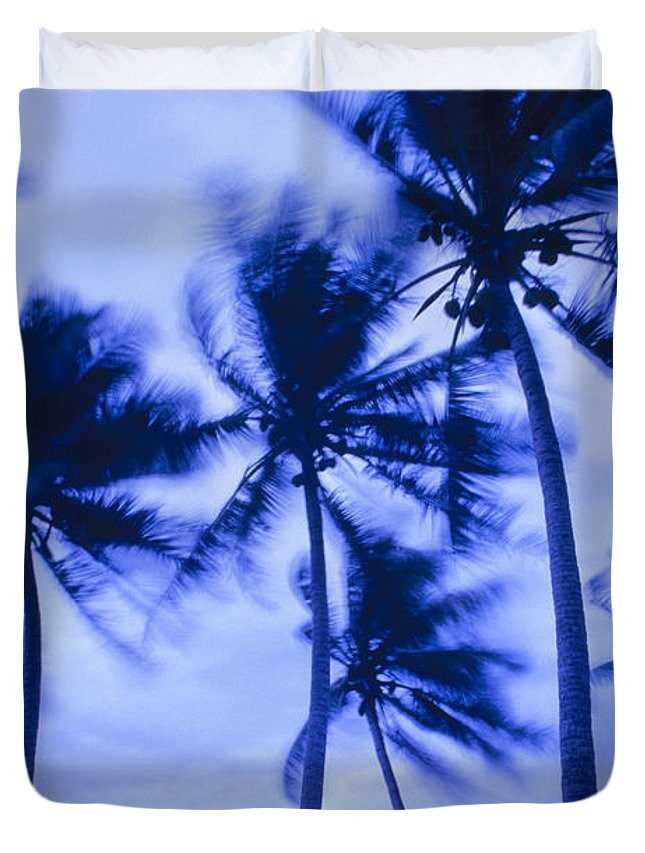 Blue Duvet Cover featuring the photograph Palms In Storm Wind-bora Bora Tahiti by Frans Lanting MINT Images