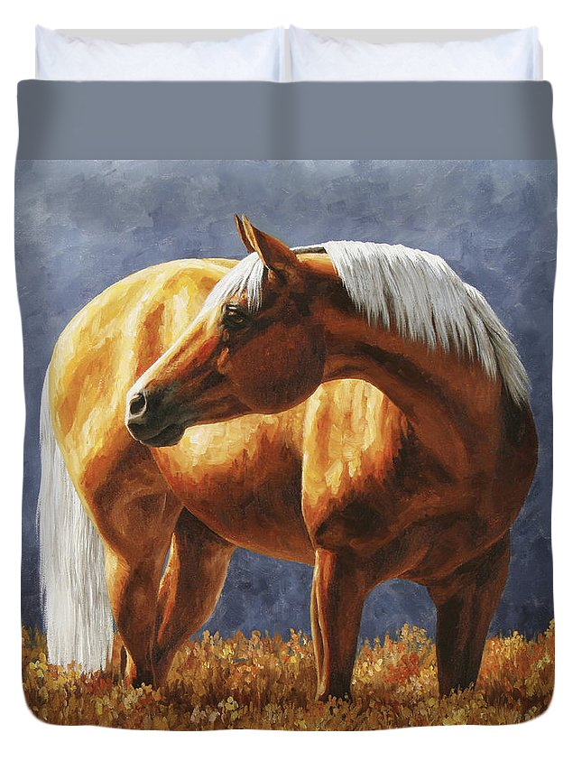 Horse Duvet Cover featuring the painting Palomino Horse - Gold Horse Meadow by Crista Forest