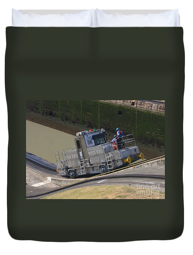 Central Duvet Cover featuring the photograph Panama Canal Towing Vehicle 1 by Rudi Prott