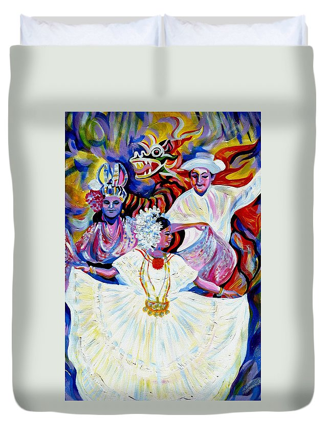 Travel Duvet Cover featuring the painting Panama Carnival. Fiesta by Anna Duyunova