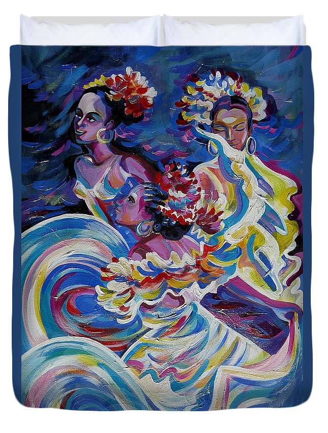 Carnival Duvet Cover featuring the painting Panama Carnival. Folk Dancers by Anna Duyunova