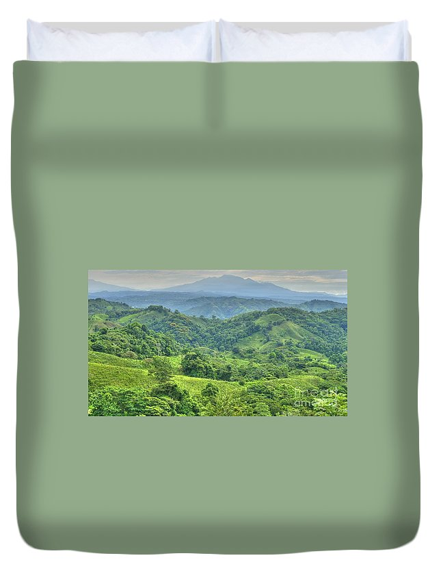 Hdr Duvet Cover featuring the photograph Panama Landscape by Heiko Koehrer-Wagner