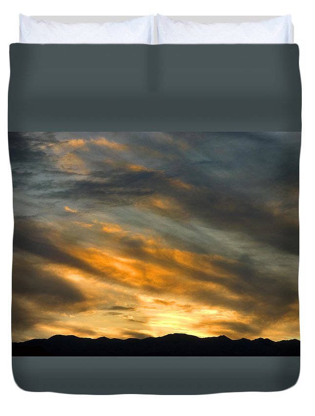 Desert Duvet Cover featuring the photograph Panamint Sunset by Joe Schofield