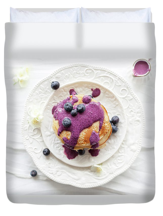 Temptation Duvet Cover featuring the photograph Pancakes With Blueberry Sauce by Ingwervanille