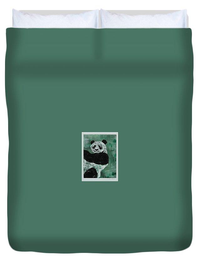Panda Duvet Cover featuring the mixed media Panda - Monium by Cori Solomon
