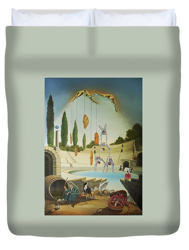 Art Duvet Cover featuring the painting Pane Et Circenses by Gyuri Lohmuller