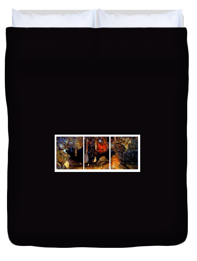 Cave Duvet Cover featuring the painting Panels Of A Cave by Bruce Nutting
