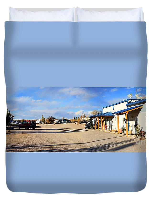 Roena King Duvet Cover featuring the photograph Panorama Cedar Cove Rv Park Street 3 by Roena King