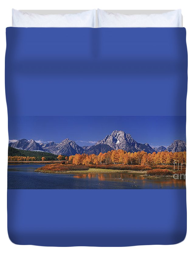 Grand Tetons National Park Duvet Cover featuring the photograph Panorama Fall Morning Oxbow Bend Grand Tetons National Park Wyoming by Dave Welling