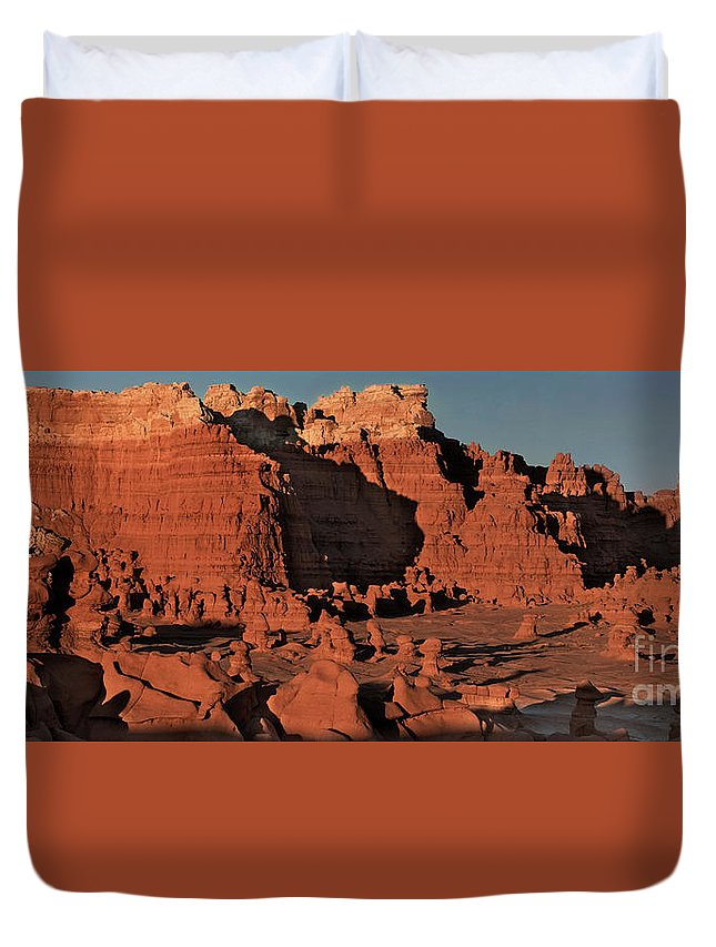 North America Duvet Cover featuring the photograph Panorama Hoodoos Goblin Valley Utah by Dave Welling
