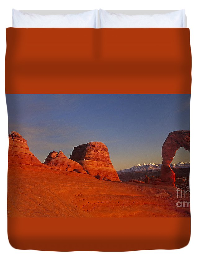 America Duvet Cover featuring the photograph Panorama Moonrise Over Delicate Arch Arches National Park Utah by Dave Welling