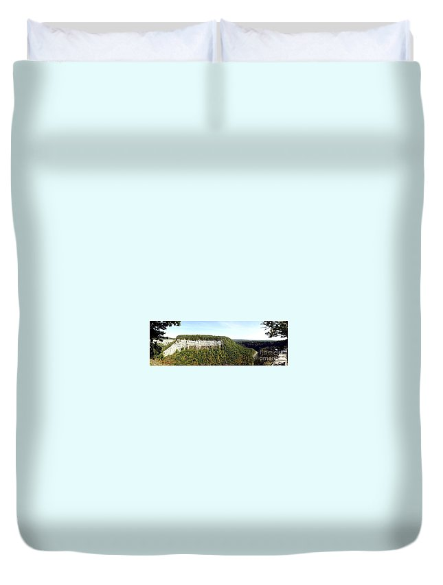 Cliffs Duvet Cover featuring the photograph Panorama Of Cliff At Letchworth State Park by Rose Santuci-Sofranko