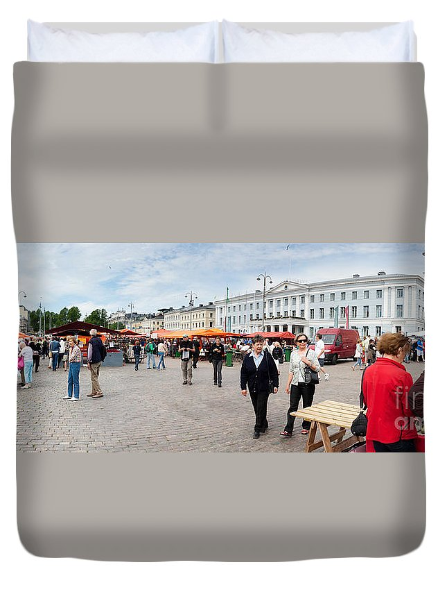 Europe Duvet Cover featuring the photograph Panorama Of Helsinki Inner Harbor Panorama by Thomas Marchessault