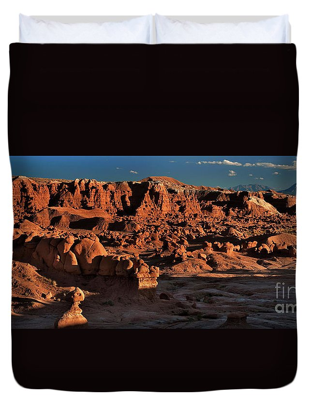 North America Duvet Cover featuring the photograph Panorama Of Hoodoos At Sunset Goblin Valley State Park Utah by Dave Welling