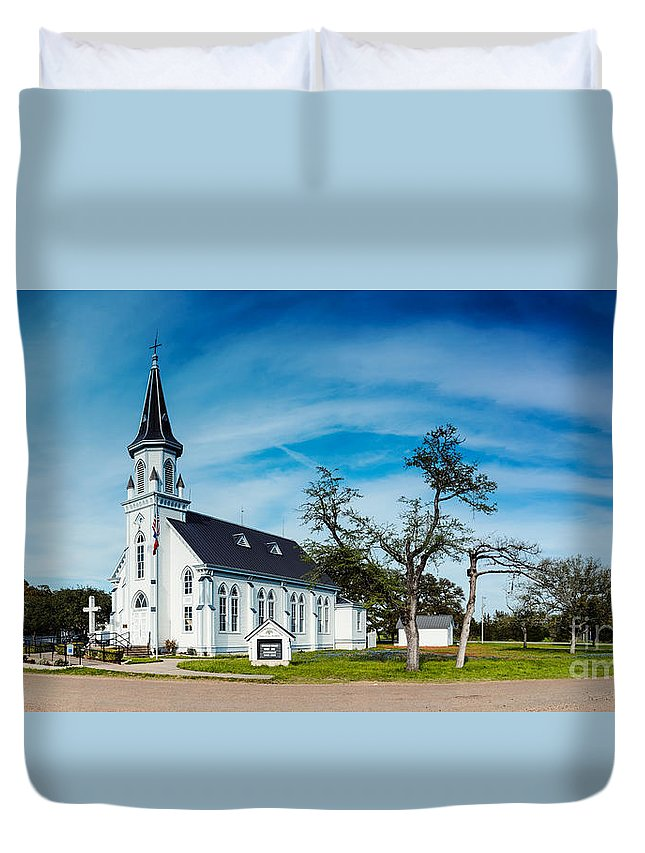 Painted Duvet Cover featuring the photograph Panorama Of Sts. Cyril And Methodius Catholic Church - Dubina Texas by Silvio Ligutti