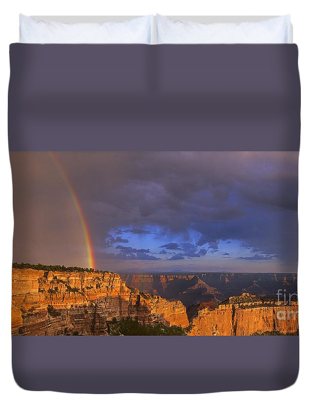 North America Duvet Cover featuring the photograph Panorama Rainbow Over Cape Royal North Rim Grand Canyon National Park by Dave Welling