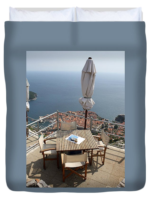 Dubrovnik Duvet Cover featuring the photograph Panorama Restaurant by David Nicholls
