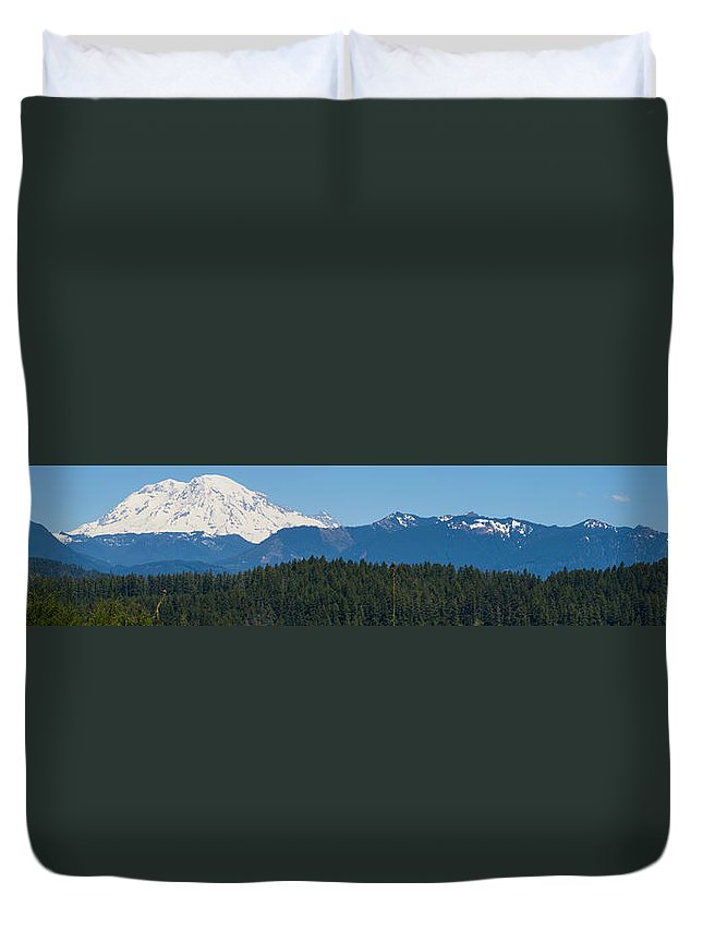 Panoramic Duvet Cover featuring the photograph Panoramic Rainier Rt.25 by Tikvah's Hope