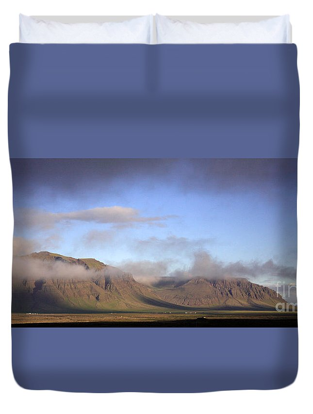 Awe Duvet Cover featuring the photograph Panoramic View Of The Mountains Lit By The Sun by Deborah Benbrook