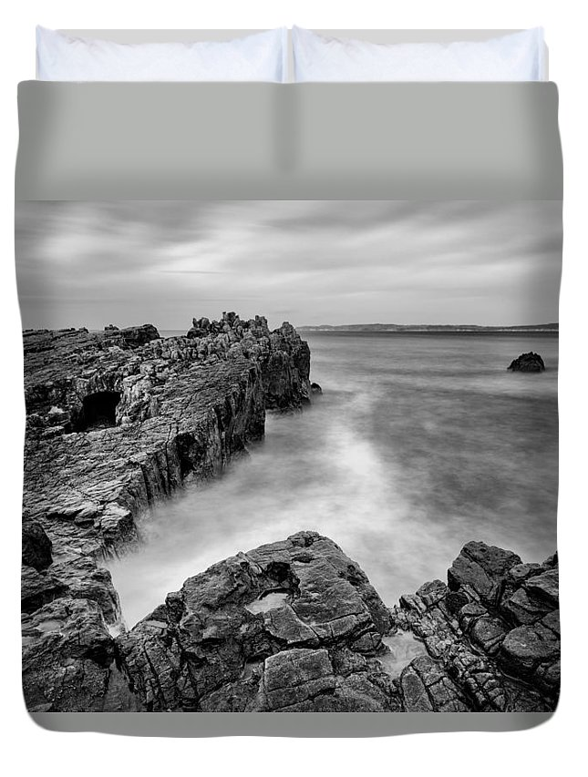 Pans Rock Duvet Cover featuring the photograph Ballycastle - Pans Rock To Rathlin Island by Nigel R Bell