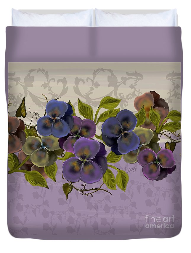 Original Painting Duvet Cover featuring the painting Pansy Border by Nancy Long
