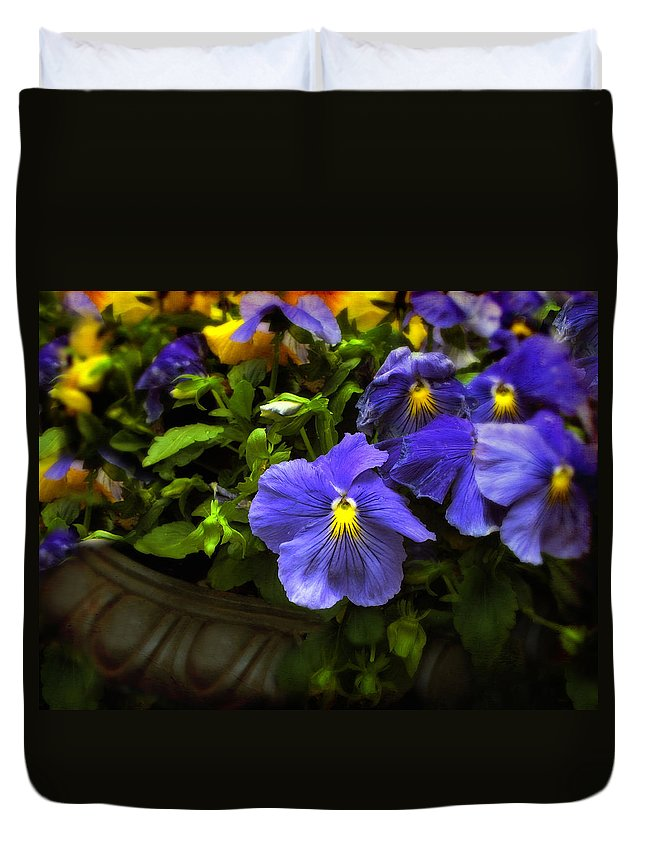 Flowers Duvet Cover featuring the photograph Pansy Planter by Jessica Jenney