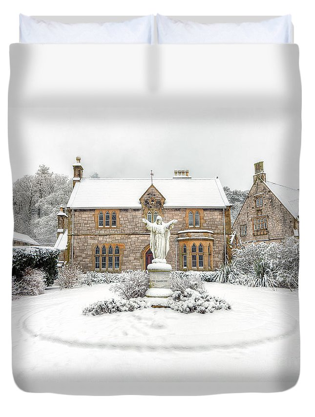 Friary Duvet Cover featuring the photograph Pantasaph Friary by Adrian Evans