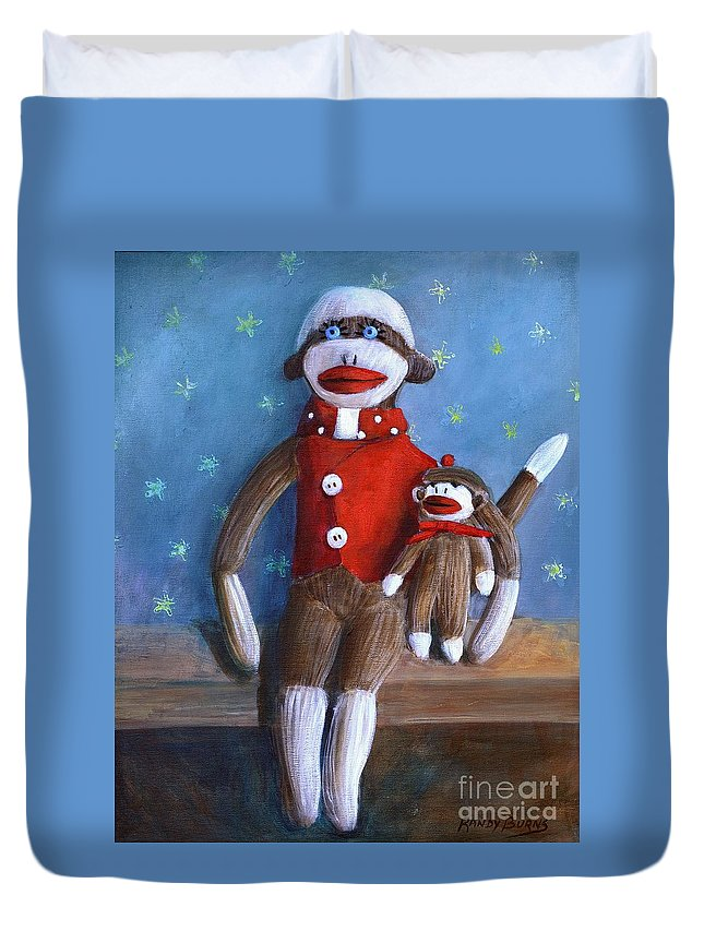Sock Monkey Papa With Child Duvet Cover featuring the painting Papa And Paco by Randy Burns