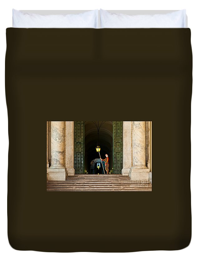 Swiss Duvet Cover featuring the photograph Papal Swiss Guard At The Vatican Museums by Luis Alvarenga