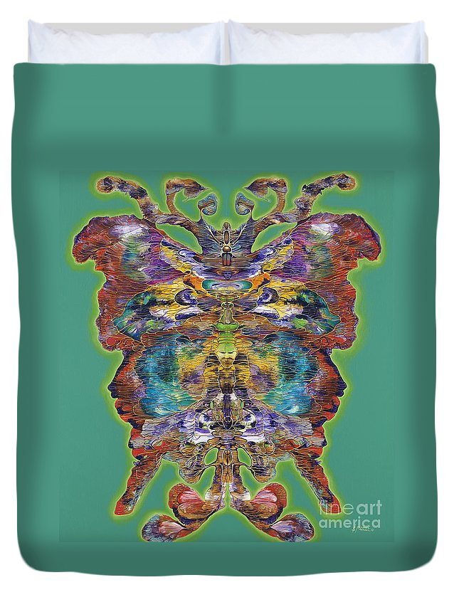 Butterfly Duvet Cover featuring the painting Papalotl Series Vlll by Ricardo Chavez-Mendez