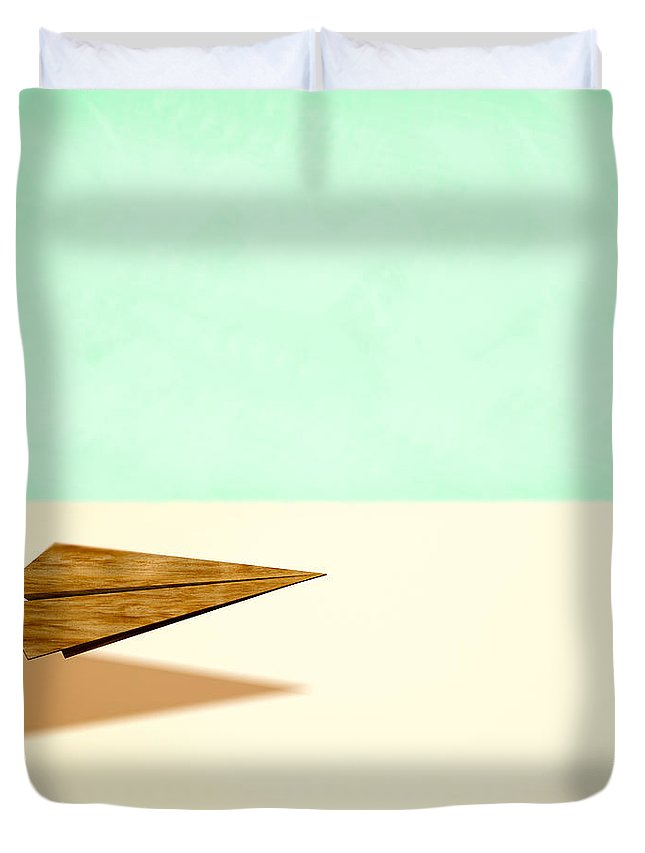 Aircraft Duvet Cover featuring the photograph Paper Airplanes Of Wood 9 by YoPedro