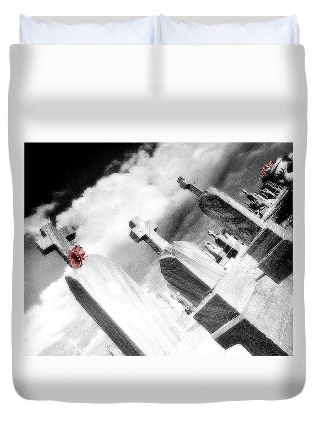 Graveyard Duvet Cover featuring the photograph Paper Flower by Gothicrow Images