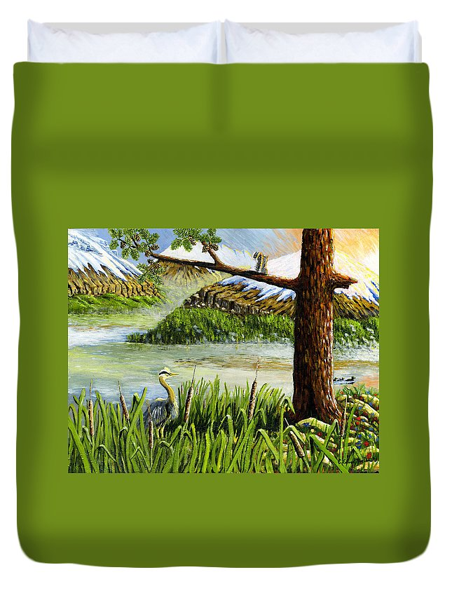 Lake Duvet Cover featuring the painting Paradise by Carey MacDonald