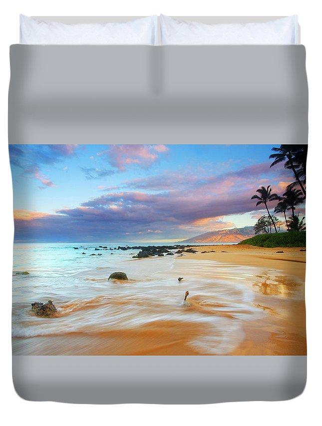 Sunrise Duvet Cover featuring the photograph Paradise Dawn by Mike Dawson