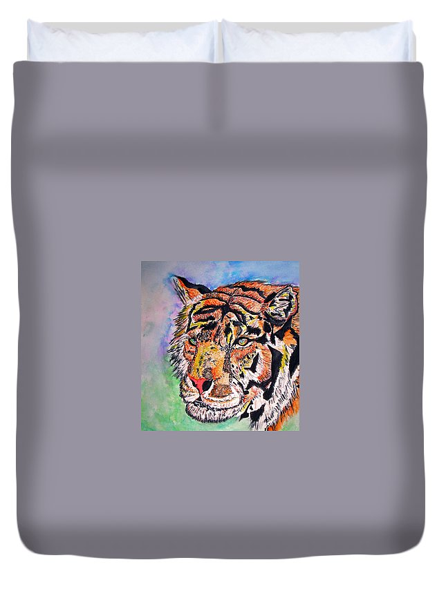 Abstract Duvet Cover featuring the painting Paradise Dream by Crystal Hubbard