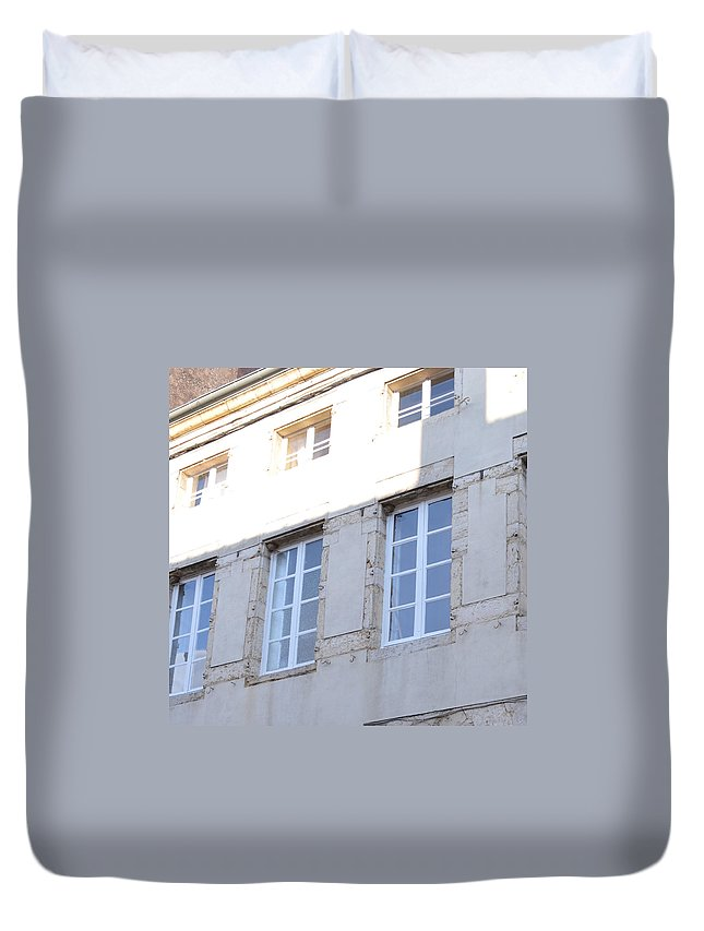 Paray Le - Monial Duvet Cover featuring the photograph Windows In Shade by Cheryl Miller
