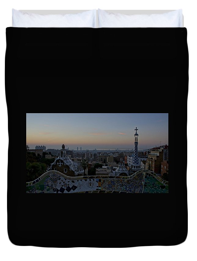 Parc Guell Duvet Cover featuring the photograph Parc Guell At Sunrise by Brian Kamprath