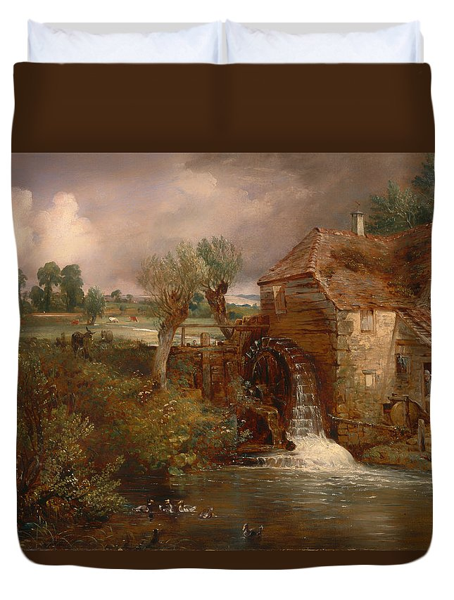Painting Duvet Cover featuring the painting Parham Mill by Mountain Dreams