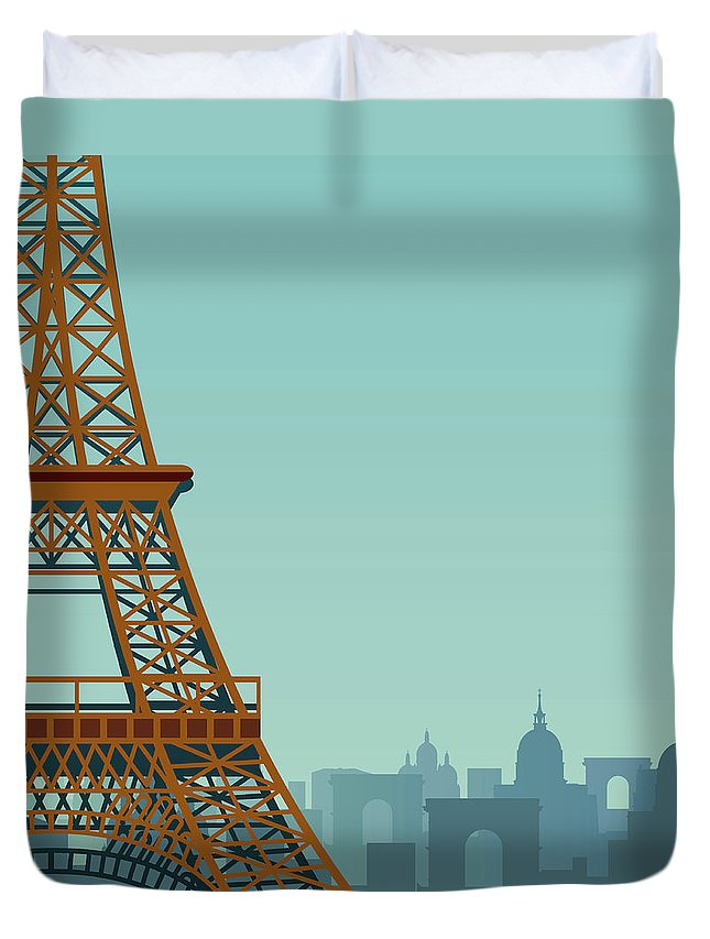 Built Structure Duvet Cover featuring the digital art Paris by Drmakkoy