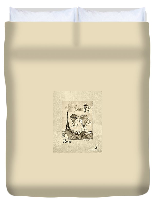 Eiffel Tower Duvet Cover featuring the mixed media Paris In Sepia by Lee Owenby