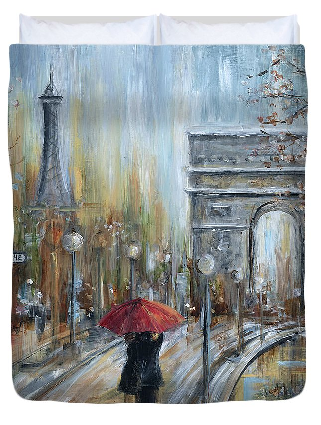 Paris Duvet Cover featuring the painting Paris Lovers II by Marilyn Dunlap