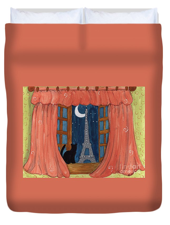 Eiffel Tower Duvet Cover featuring the painting Paris Moonlight by Lee Owenby