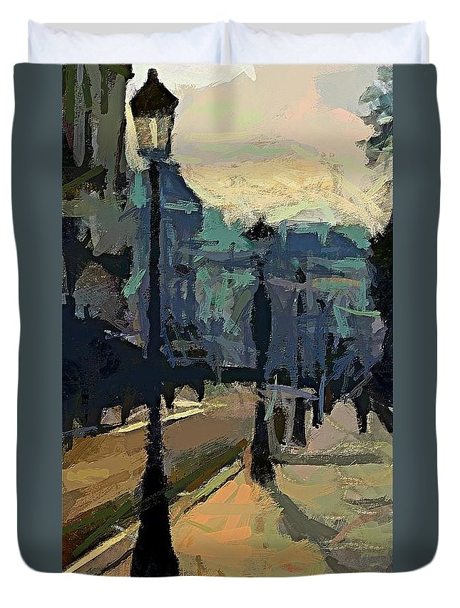 Cityscape Duvet Cover featuring the painting Paris Morning by Dragica Micki Fortuna