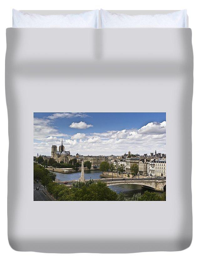 Notre Dame Duvet Cover featuring the photograph Paris View Notre Dame by Gary Eason