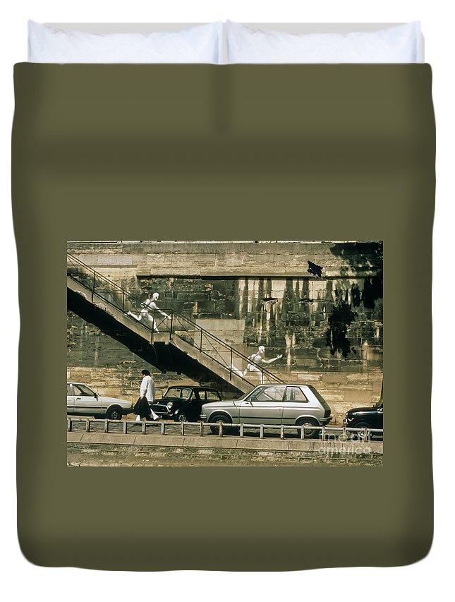 Paris Duvet Cover featuring the photograph Paris Wall by Thomas Marchessault